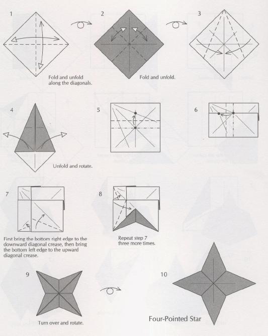 Комментарии к отдельным рисункам схемы новогодней звездочки оригами: 1. Свернуть и развернуть по диагонали.