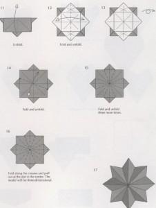 Новогодняя звезда оригами восьмиконечная из бумаги схема