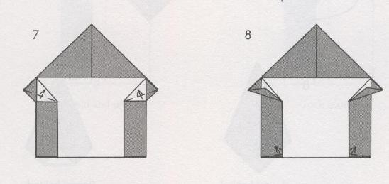 оригами домик схема новогодняя