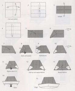 Новогодняя шапка оригами из бумаги схема