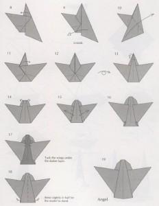 Ангелочек – простая схема оригами из бумаги для детей