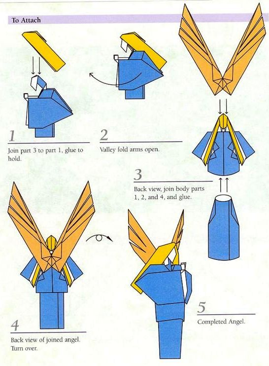 Оригами Ангел - модульная схема из бумаги.  Новый год - 2014.