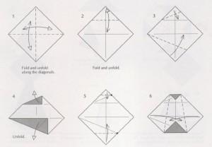 Снеговик оригами схема из бумаги