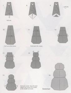 как сделать Снеговика оригами схема из бумаги