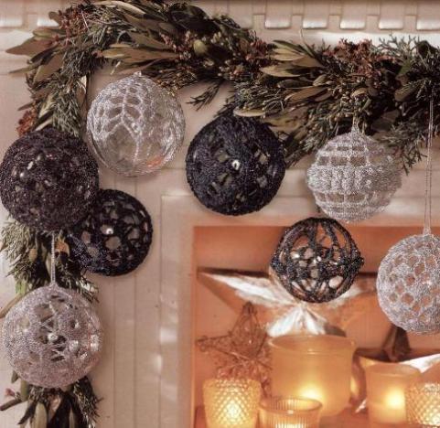 Вязаные шары для новогодней