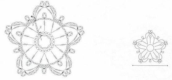 снежинка схема вязания