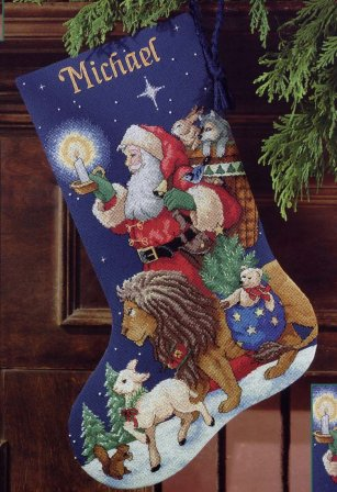 Новогодний сапожок – вышивка