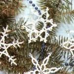 Новогодние снежинки из бисера – схемы