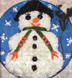 Новогодний салат Снеговичок фото рецепт