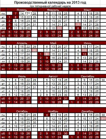 2013 Calendar on 2013