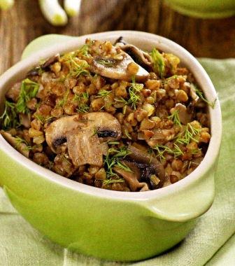 Гречневая каша с грибами постное блюдо фото