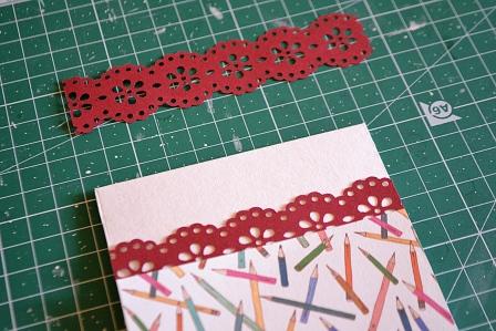 задекорируем переходы цвета между бумагами на открытке