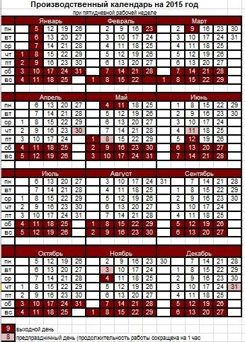 Производственный календарь на 2015 год пятидневная неделя скачать