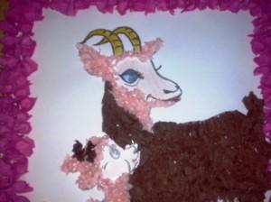 раскрашиваем свободные элементы козы и козленка