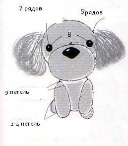 Собачка схема вязания