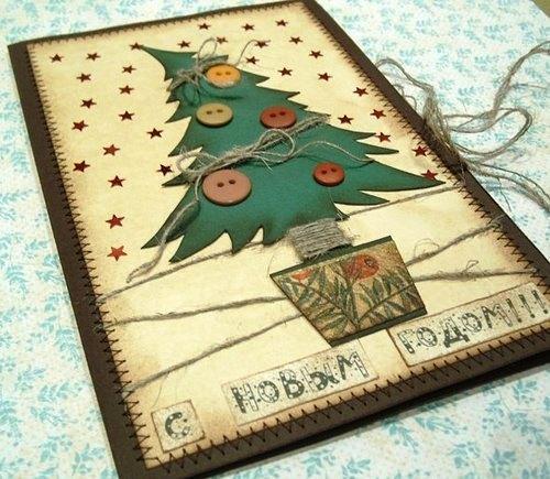 открытки из пуговиц своими руками