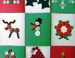сделать новогоднюю открытку из пуговиц