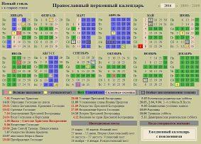 Церковный календарь на 2016 год
