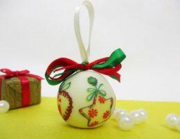 Новогодний шар (холодный фарфор с декупажем), фото мастер класс