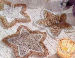 Новогодняя звезда - вязаные салфетки на новый год средние