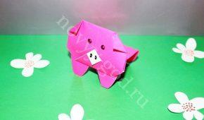Миниатюра к статье Как сделать поросенка оригами из бумаги, мастер класс для детей