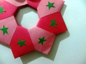 Рождественский венок в технике модульного оригами, пошаговые фото