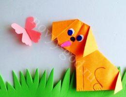 Собака – оригами, поделка оформлена как аппликация, фото пошагово