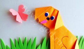 Миниатюра к статье Собака – оригами, поделка оформлена как аппликация, фото пошагово