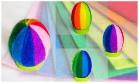 Пасхальные поделки : яйцо из разноцветного фетра, мастер-класс с фото
