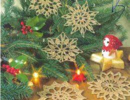 Золотистые снежинки вязание новый год