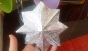 Миниатюра к статье Объемная новогодняя звезда-игрушка из бумаги